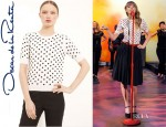 Taylor Swift's Oscar de la Renta Polka Dot Short Sleeve Sweater