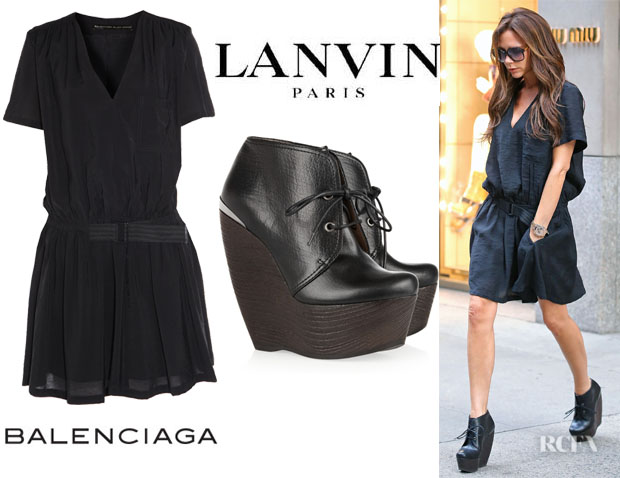 Victoria Beckham's Balenciaga Belted V-Neck Dress And Lanvin Crazy Lace-Up Wedge Booties
