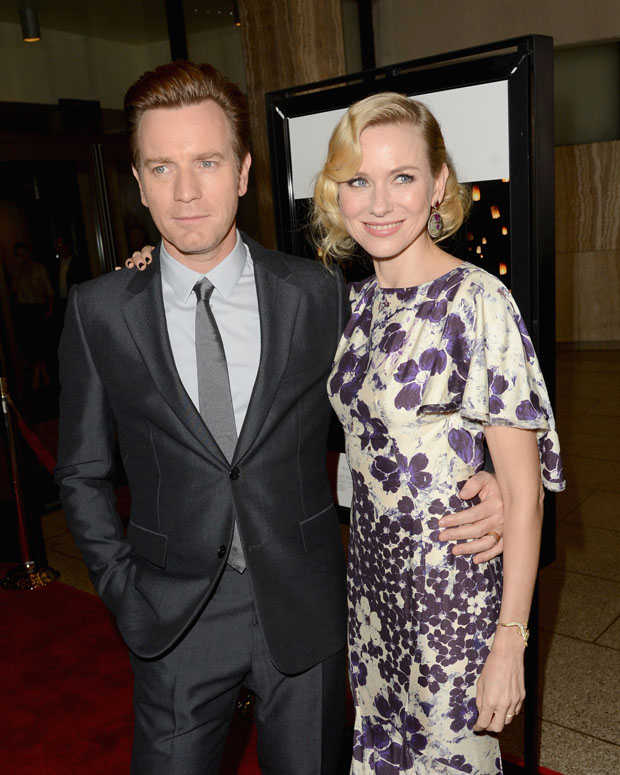 Ewan McGregor in Balenciaga and Naomi Watts in Zac Posen