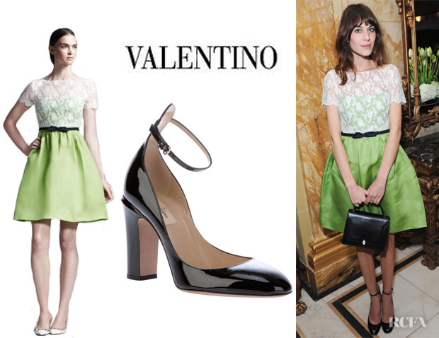 Alexa Chung's Valentino Lace-Bodice Organza Dress And Valentino Ankle Strap Pumps