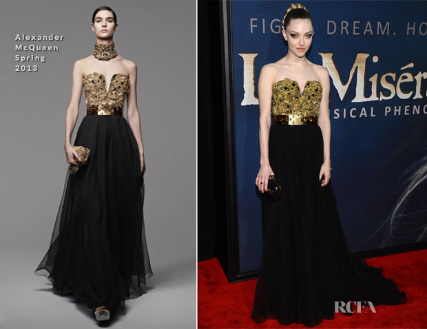 b59c3e9988 Amanda Seyfried In Alexander McQueen -  Les Miserables  New York ...