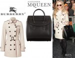 Amanda Seyfried's Burberry London Trench Coat And Alexander McQueen Heroine Tote