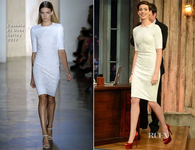 Anne Hathaway In Cushnie et Ochs - Late Night with Jimmy Fallon