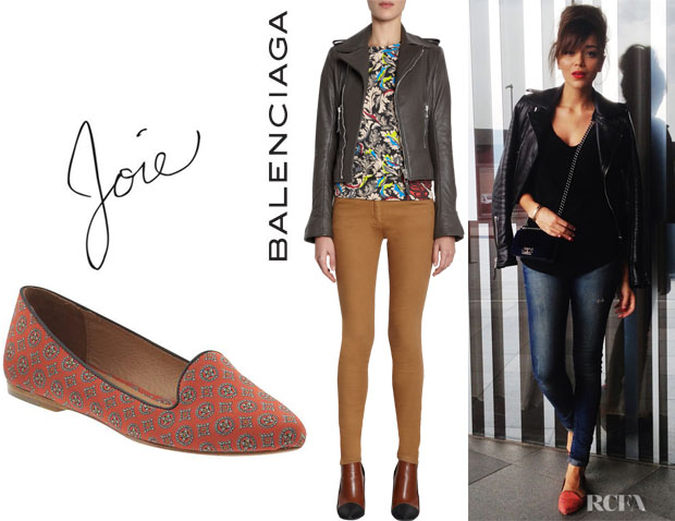 Ashley Madekwe's Balenciaga Biker Jacket And Joie Day Dreaming Smoking Flats