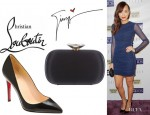 Ashley Madekwe's Christian Louboutin Pigalle Pumps And Giuseppe Zanotti Box Clutch