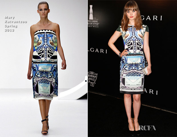 Bella Heathcote In Mary Katrantzou - Rodeo Drive Walk of Style Honouring Bulgari