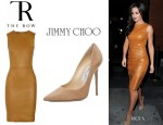 Cheryl Cole's The Row Dastuls Leather Dress And Jimmy Choo Anouk Pumps