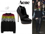 Cheryl Cole's Proenza Schouler Merino Sweater And Acne Ace Booties