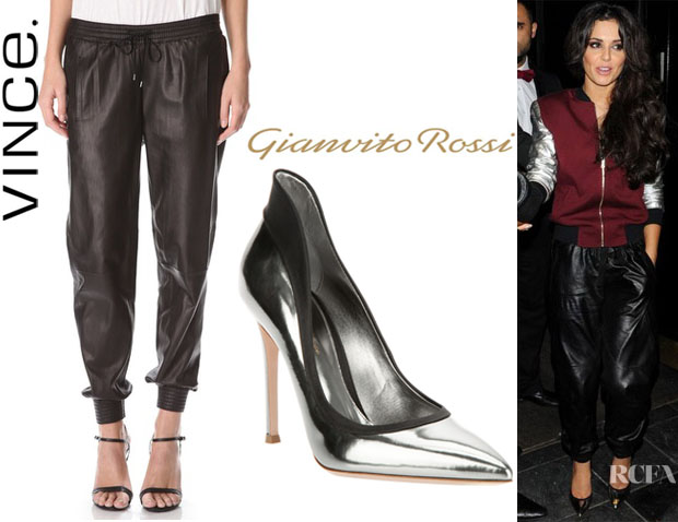 Cheryl Cole's Vince Leather Jogging Pants And Gianvito Rossi Pumps