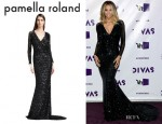 Ciara's Pamella Roland Sheer-Sleeve Sequin Gown