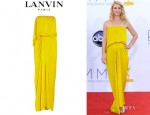 Claire Danes' Lanvin Draped Hammered-Satin Gown