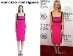 Claire Danes' Narciso Rodriguez Colour Block Silk Sheath Dress