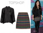 Demi Lovato's Topshop Premium Silk Boxy Shirt And Topshop Moroccan Blanket A-Line Skirt