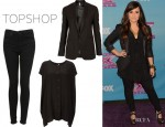 Demi Lovato's Topshop Silk Popper Tee by Boutique, Topshop Moto Skinny Leigh Jeans And Topshop Premium Satin Trim Tux Jacket