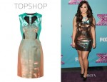 Demi Lovato's Topshop Two Tone Cut Out Shift Dress