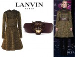 Diane Kruger's Lanvin Metallic Brocade A-Line Dress And Lanvin Leather Tiger Belt