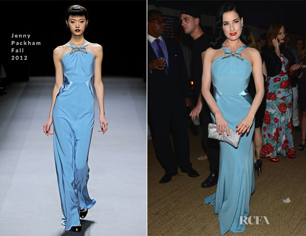 Dita von Teese In Jenny Packham - amfAR Inspiration Miami Beach Party