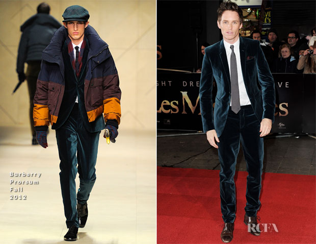 3d2af862bd56 Eddie Redmayne In Burberry Prorsum –  Les Miserables  London Premiere