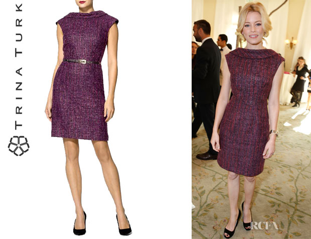 Elizabeth Banks' Trina Turk Belted Tweed Dress