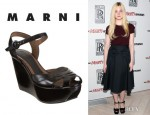Elle Fanning's Marni Two Piece Wedge Sandals