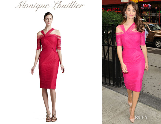 Emmy Rossum's Monique Lhuillier Ruched Tulle Dress
