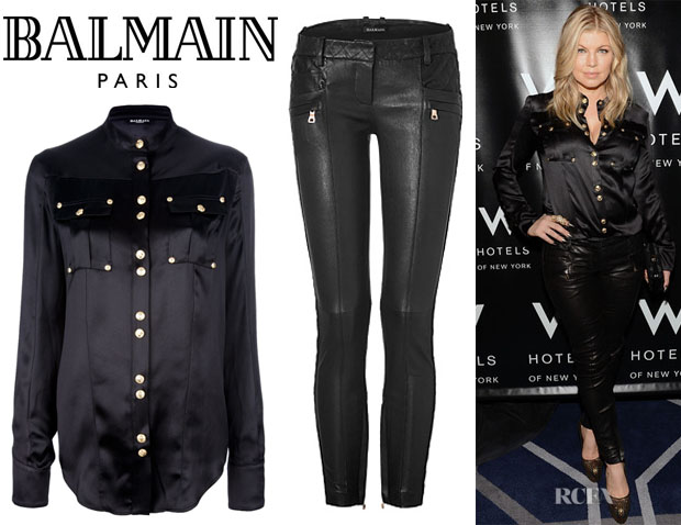 Fergie's Balmain Button Collar Shirt And Balmain Skinny Leather Pants