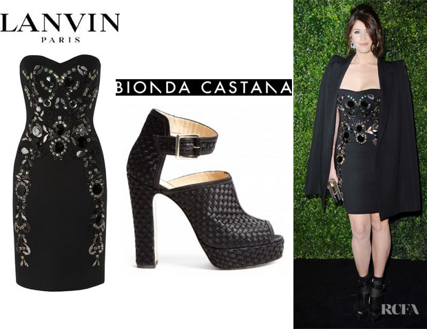 Gemma Arterton's Lanvin Jewel Embellished Jersey Dress And Bionda Castana Christa Woven Peep Toe Heels