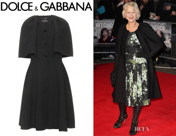 Helen Mirren's Dolce & Gabbana Wool Coat With Cape