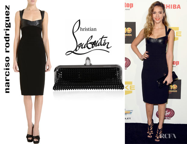 Jessica Alba's Narciso Rodriguez Leather Strap Dress And Christian Louboutin Miss Loubi Spiked Clutch