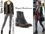 Jessica Alba's Rhyme & Echo Hannah Jacket, Current/Elliott Fishnet Ankle Skinny Jeans And Rupert Sanderson Manco leather Ankle Boots