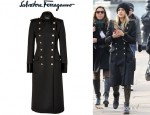 Jessica Alba's Salvatore Ferragamo Double-Breasted Wool Coat