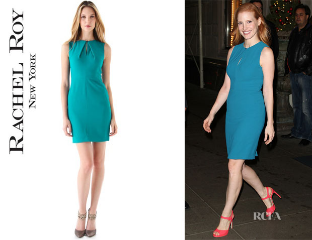 Jessica Chastain's Rachel Roy Keyhole Sleeveless Dress