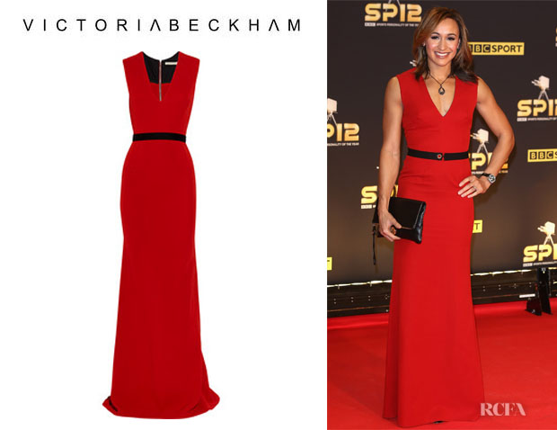 Jessica Ennis' Victoria Beckham Belted Crepe Gown