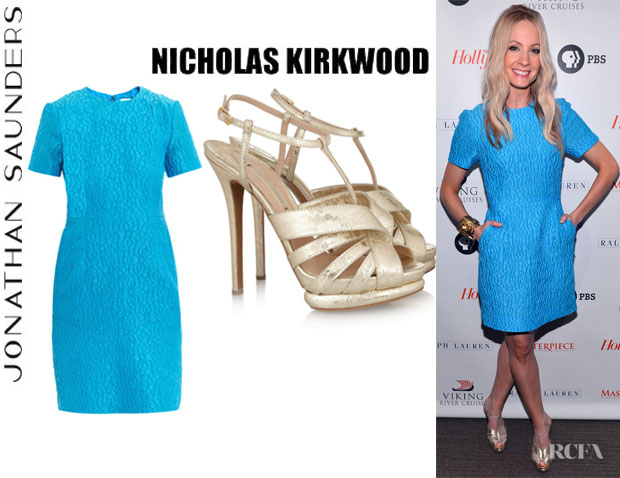 Joanne Froggatt's Jonathan Saunders Helene Jacquard Dress And Nicholas Kirkwood Leather Platform Sandals