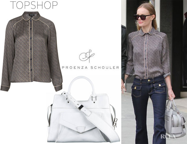 Kate Bosworth's Topshop Premium Piped Geo Shirt And Proenza Schouler PS13 Large Shopper