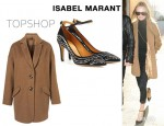 Kate Bosworth's Topshop Ultimate Crombie Coat And Isabel Marant Stuart Studded Pumps