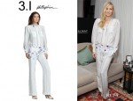 Kate Hudson's 3.1 Phillip Lim Floral Print Striped Silk Blouse And Pants