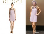 Kate Waterhouse's Gucci Hand Embroidered Floral Silk Sleeveless Dress
