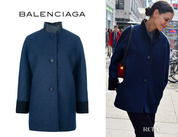 Katie Holmes' Balenciaga Single Breasted Coat