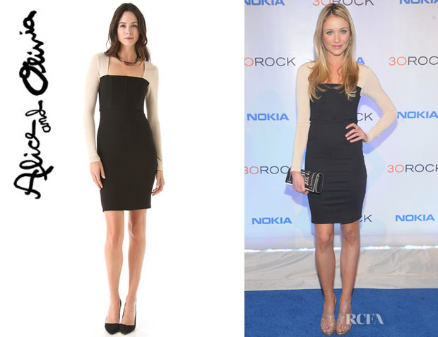 Katrina Bowden's Alice + Olivia Rilo Square Neck Dress
