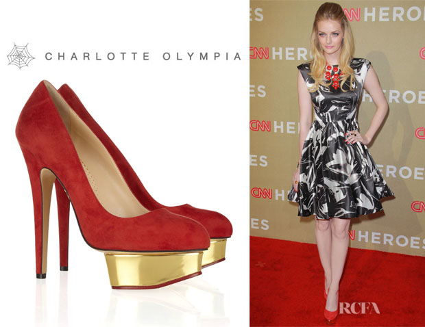 Lydia Hearst's Charlotte Olympia Dolly Suede Platform Pumps