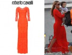 Mariah Carey's Roberto Cavalli Long-Sleeve Maxi Dress