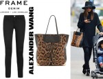 Miranda Kerr's Frame Denim Le Luxe Noir Skinny Jeans, Tabitha Simmons Zip Buckle Booties And Alexander Wang Prisma Haircalf Tote