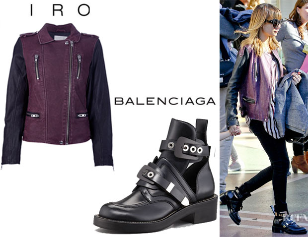 Nicole Richie's Iro Anabela Jacket And Balenciaga Cutout Buckled Booties