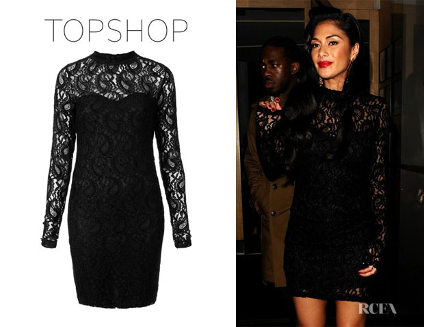 Nicole Scherzinger's Topshop Tall lace bodycon dress
