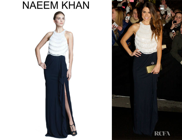 Nikki Reed's Naeem Khan Two-Tone Fringe-Top Gown