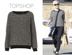 Pink's Topshop Knitted Shimmer Trim Sweater