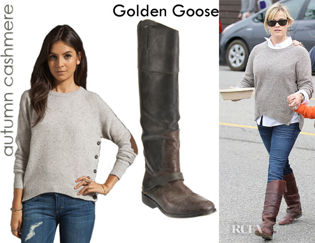 Reese Witherspoon's Autumn Cashmere Hi Lo Side Button Sweater And Golden Goose Charlye Boots