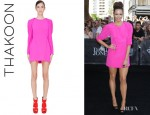 Ricki-Lee Coulter's Thakoon Silk Draped Sleeve Dress