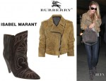 Rosie Huntington-Whiteley's Burberry Prorsum Distressed Suede Biker Jacket And Isabel Marant Embroidered Ankle Boots